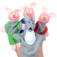 4PCS Three Little Pigs And Wolf Finger Puppets Hand Puppets Christmas Toy Gifts