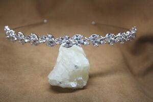 Bridal Alice Band Rhodium Plated Copper Cubic Zirconia Wedding Prom Bridesmaid