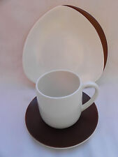 More details for carlton ware retro trio cup saucer & plate .brown & ivory.(a)