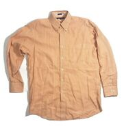 Tommy Hilfiger Orange White Plaid Button Down Up Long Sleeve Shirt 15-1/2 32-33