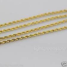 3pcs Mens Womens 18K Yellow Gold Filled Rope Necklace Thin Cable Chain 2mm Wide