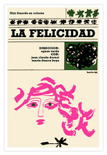 """Spanish decor Graphic Design movie Poster""""Happiness&#03 4;Pink girl.French Art film"""