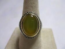 Sterling Silver Men's Ring with a ring of Bronz oval cut light brown stone sz 11