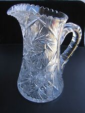 Beautiful Vintage Crystal Pitcher late (1910) American Brilliant Water Jug