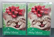 2 Avanti Christmas Cards- Kitten with Red Bow-10 Cards/12 Envelopes Each
