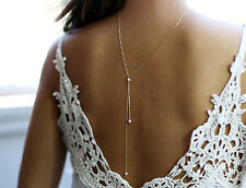 gold chain pearl back necklace back drop necklace for wedding bohemian necklace