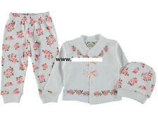 NEU Baby Mädchen Set Schlafanzug 3-Teile Tunika/Shirt, Hose, Mütze Gr. 56, 62,68