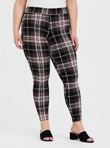 Torrid Leggings Premium Full Length Plaid Brown Cream Pink Plus Size 2 18 / 20