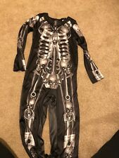 Skeleton Skull Halloween Boys One Piece Outfit Dressing Up Costume Age 7-8