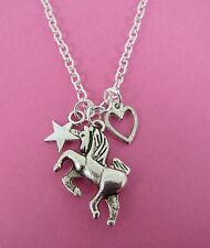 """Girls Silver Unicorn Heart & Star Charm Cluster 18"""" Necklace New in Gift Bag"""