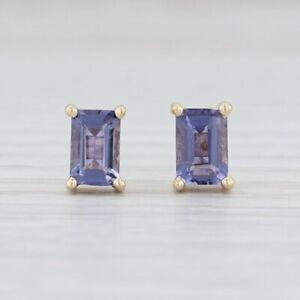 1ctw Purple Blue Iolite Stud Earrings 14k Yellow Gold Emerald Cut Solitaires