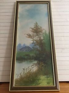 """Clarence Braley (1858-1925) Original Gouache Painting Landscape, Framed, 8"""" x 20"""