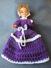 Vintage purple & white crocheted wool clothes plastic doll
