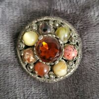 Vintage MIRACLE small Brooch Pendant combo Orange Glass Stone & Agate