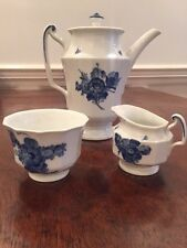 Royal Copenhagen Blue Flowers Large Coffee Pot with Creamer and Sugar Bowl