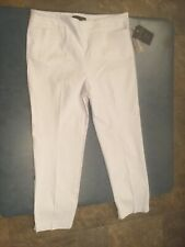 Zac & Rachel Women's Size 12 Optic White Flat Front Ultimate Fit Pants NWT