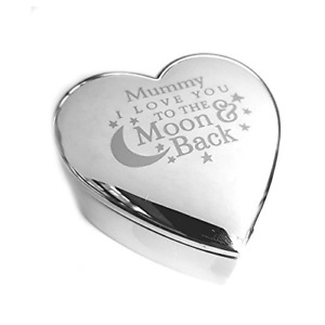 Mummy I Love You To The Moon & Back Silver finish Trinket Box Gifts Presents