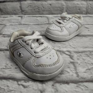 Champion Classic Tennis Shoes Size 1 Baby White Leather Lace Up Sneakers