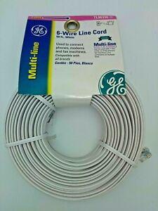 GE 6 Wire Line Cord 50 ft White Multi Line Phone Modem Fax Machine TL96330