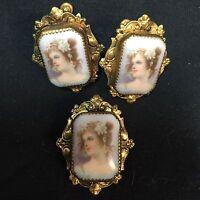 3 Pc Victorian Woman Screwback Earring Pin Brooch Set Painted Portrait Lady VTG