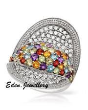 $590 FPJ Gorgeous Ring Amethyst Garnet Peridot Citrine Topaz 925 Sterling Silver