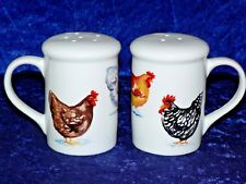 Chicken design Salt and pepper shakers. Large simple shape cockerel rooster hen