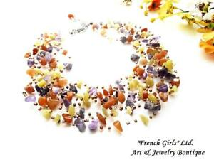 Raw Gemstone Necklace Floating Air Amethyst Opal Chrysolite Invisible Crochet