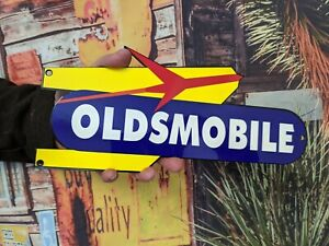 OLD VINTAGE OLDSMOBILE GM PORCELAIN ENAMEL DEALERSHIP HEAVY METAL SIGN CAR TRUCK