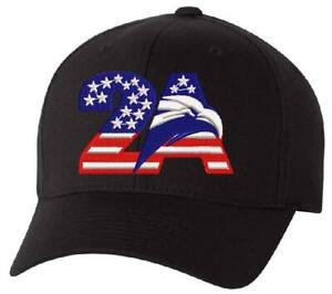 2nd Amendment 2A Eagle Embroidered Flex Fit Hat - Various Color/Size Choices