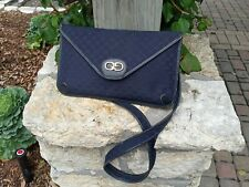 Vintage Gucci Blue Leather Clutch Bag Envelope Monogram GG Logo Purse Handbag