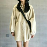 Lady Retro Corduroy Shirt Jacket Blouse Loose Long Sleeve Coat Retro Top Solid