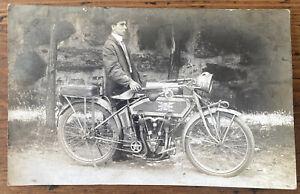 Original RPPC Excelsior Auto Cycle Motorcycle Man Rider Postcard AZO Real Photo