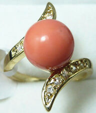 fashion 10mm white black pink purple blue red green shell pearl jade 18 KGP ring