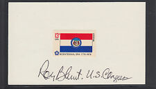 Roy Blunt, Missouri Congressman, signed 13c Missouri Flag stamp on 3x5 card