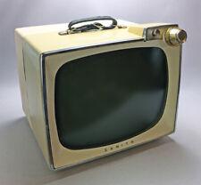 "Vintage 1959 Mid-Century Zenith B178Bu Portable Tv B&W 16"" Tube Television Works"
