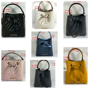 Michael Kors Suri Small MK Signature PVC Leather Bucket Crossbody Purse Bag