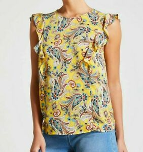 BNWT Matalan Papaya Yellow Paisley Print Ruffle Sleeve Blouse Top (ST71)