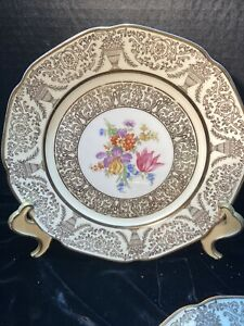 Bavaria Plate Set (6) By Tirschenreuth Crafted in Germany, Gold 24k Gilt