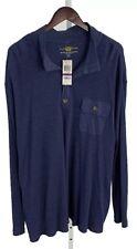 Club Room Mens 2XLT Tall Navy Blue Heather 1/2 Button Long Sleeve Knit Shirt