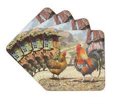 4 Cockerel and Hen Coaster Set Pack of Four Farmyard Scene Drink Mats
