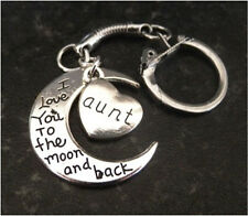 GIFT PRESENT LOVE YOU TO THE MOON AND BACK AUNT KEYRING FREE GIFT BAG