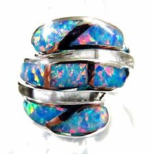 "Sterling 925 Silver SF Size 10 Ring Large Gorgeous Rainbow Lab Fire Opal 3/4"" W"