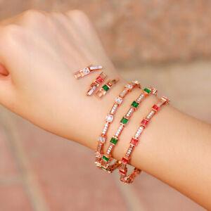 Red White Cubic Zircon CZ Engagement Tennis Square Chain Link Bangle Bracelet