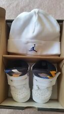 RARE! NIKE AIR JORDAN SIXTY PLUS BABY CRIB SHOES SNEAKERS+HAT S.2C LEATHER WHITE