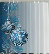 Christmas Blue Ball Shower Curtain Ornaments  Bathroom Holiday Home Gift Decor