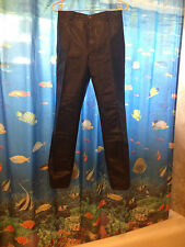 black leather pants jeans 30 waist 11.5 rise 28 inseam Japan bomber biker lined
