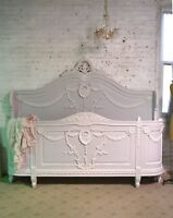 Painted Cottage Shabby French Romantic Bed King / Queen