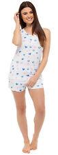 Womens Summer Pyjamas Cami Vest Top + Shorts 100% Cotton Short Pjs Ladies Size
