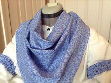Cotton Wild Rag & Arm Garters Blue Flower Print Bandana Old West Cowboy Sass