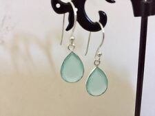 925 Sterling Silver Aqua Chalcedony Teardrop Dangle Earrings Gemstones Tear Drop